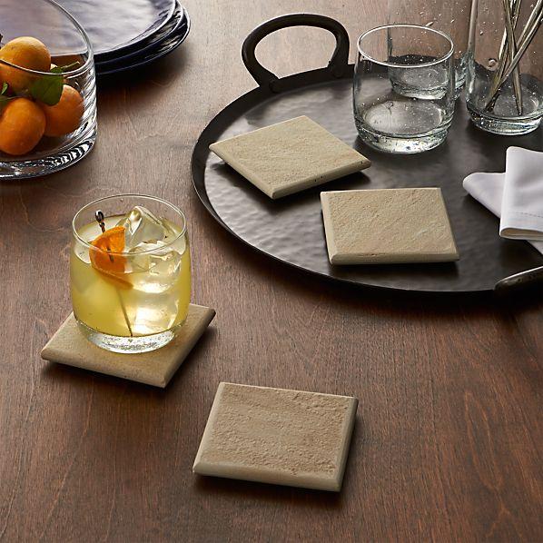 Set of 4 Blanco Sandstone Coasters