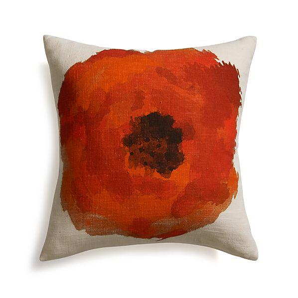"Blossom Orange 18"" Pillow with Down-Alternative Insert"