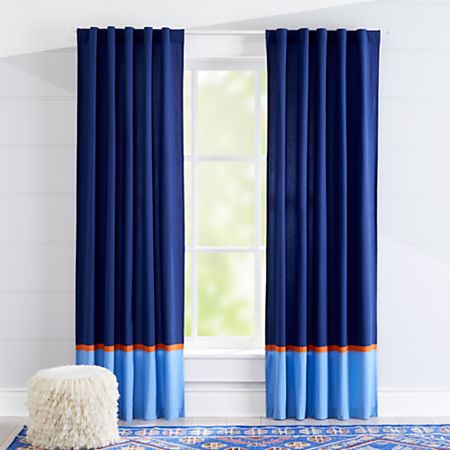 Solar System Orange And Blue Curtains
