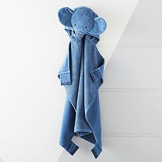 Baby Dark Blue Elephant Hooded Towel