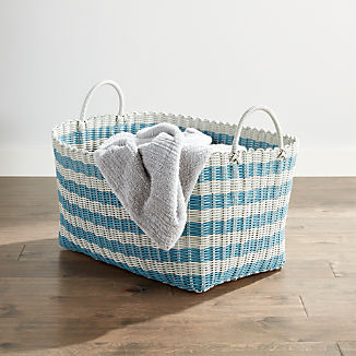 Blue/Grey Stripe Laundry Hamper