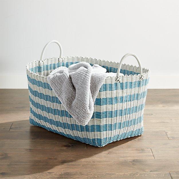 Blue/Grey Stripe Laundry Hamper - Image 1 of 3