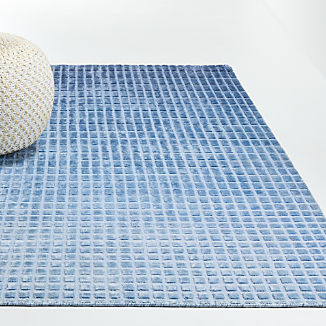 Blue Ombre Viscose Rug