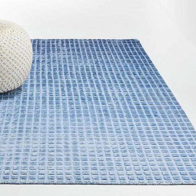 Blue Ombre Viscose Rug - Image 1 of 4