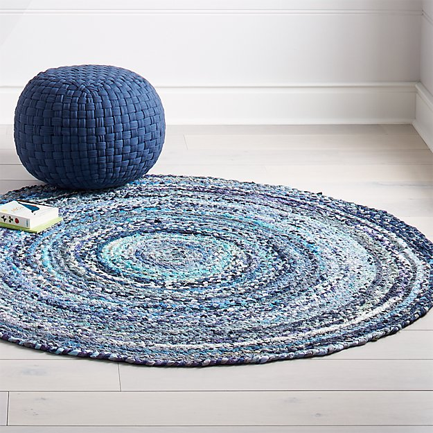 5 Blue Round Rag Rug In All Rugs Reviews Crate And Barrel