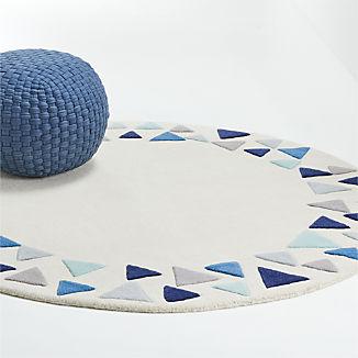 5' Blue Triangle Round Rug