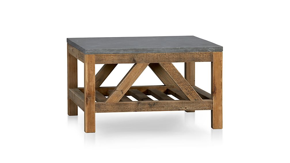 Bluestone square coffee table reviews crate and barrel for Square coffee table with stools