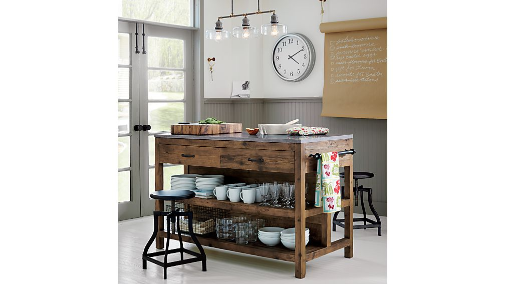 Kitchen Island bluestone reclaimed wood large kitchen island | crate and barrel