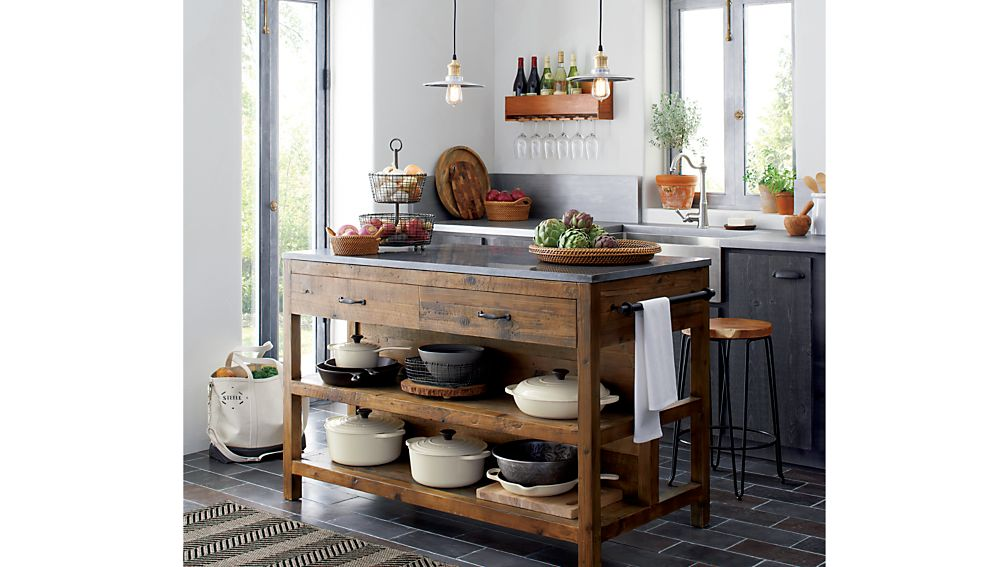 Custom Wood Kitchen Islands bluestone reclaimed wood large kitchen island | crate and barrel