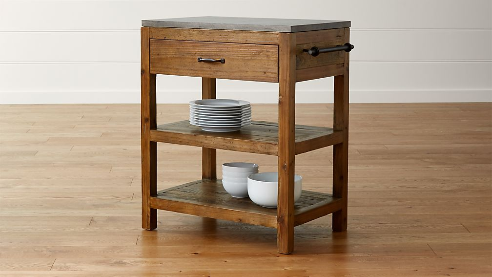 Bluestone Reclaimed Wood Small Kitchen Island Crate and Barrel