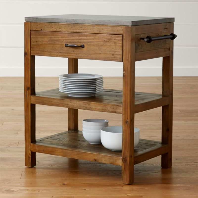 Kitchen Island Small bluestone reclaimed wood small kitchen island | crate and barrel