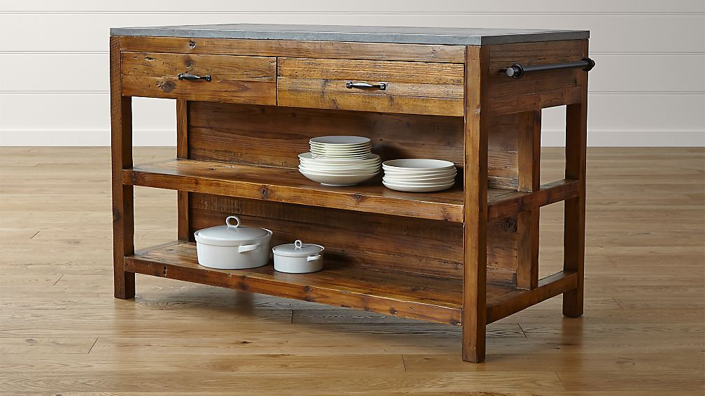 bluestone reclaimed wood large kitchen island crate and barrel