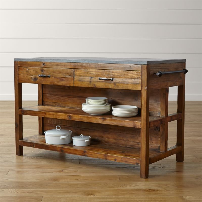 bluestone reclaimed wood large kitchen island reviews crate and barrel - Kitchen Carts