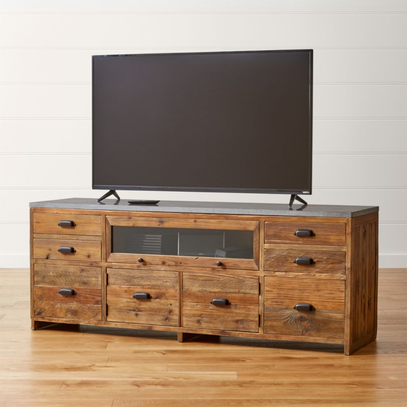 Wood Media Console Furniture ~ Bluestone reclaimed wood media console reviews crate