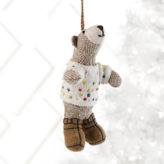 bob the bear in polka dot sweater ornament - Animal Christmas Decorations
