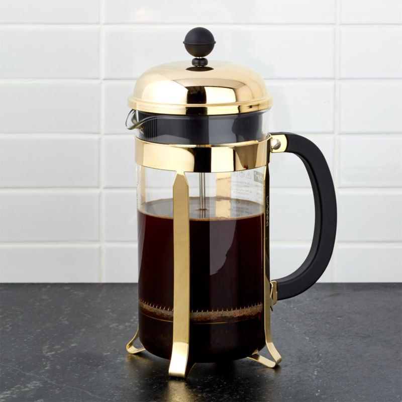 Gold French Press Coffee Maker : Bodum Gold French Press Crate and Barrel