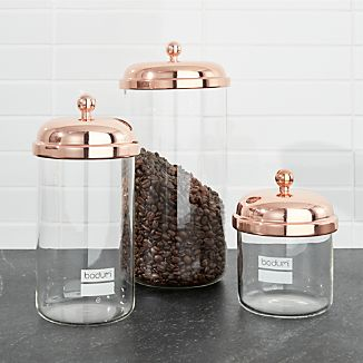 Bodum Chambord Clic Copper Storage Jars Set Of 3