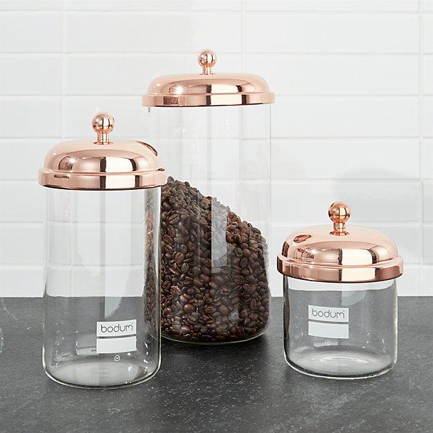 Functional Copper Kids Kitchen Set: Bodum Chambord Classic Copper Storage Jars, Set Of 3