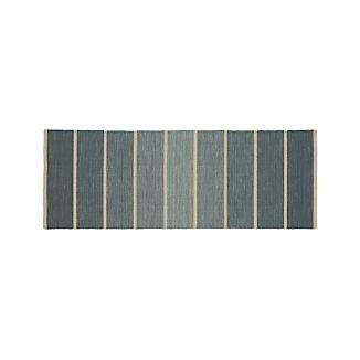 Bold Blue Striped Wool-Blend Dhurrie 2.5'x7' Rug Runner