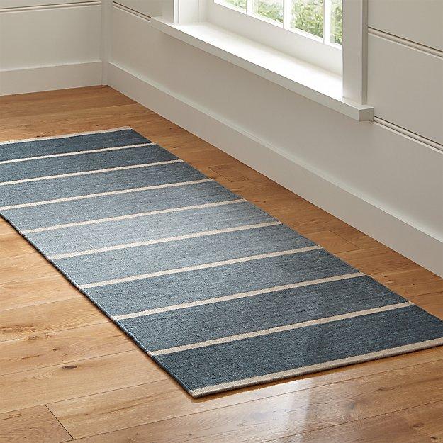 Bold Blue Wool-Blend Striped Dhurrie Runner Rug 2.5'x7