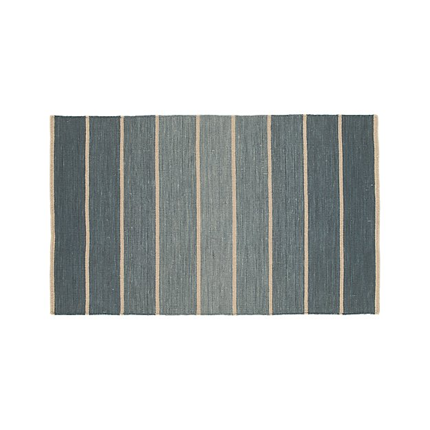 Bold Blue Striped Wool Blend Dhurrie 3 X5 Rug Crate And