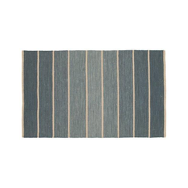 Bold Blue Wool Blend Striped Dhurrie Rug 3 X5