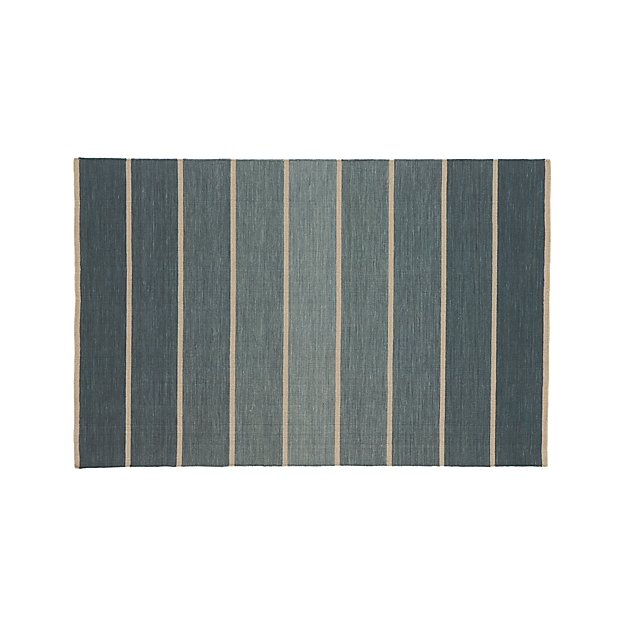 Bold Blue Striped Wool Blend Dhurrie 5 X8 Rug Crate And