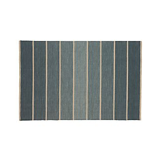 Bold Blue Striped Wool-Blend Dhurrie 5'x8' Rug