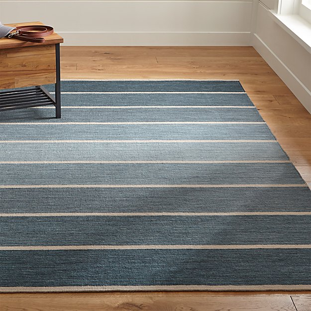 Bold Blue Wool-Blend Striped Dhurrie Rug