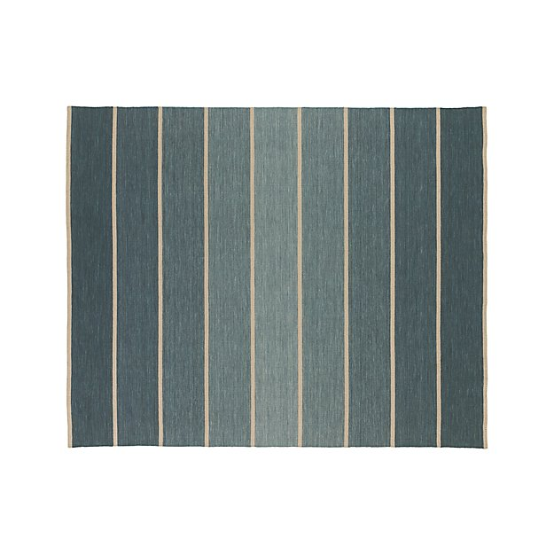 Bold Blue Wool Blend Striped Dhurrie Rug 8 X10 Reviews