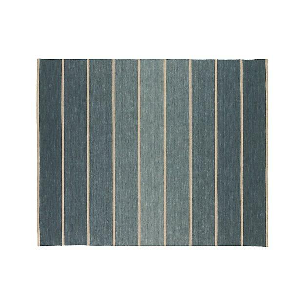 Bold Blue Wool Blend Striped Dhurrie Rug 8 X10 Reviews
