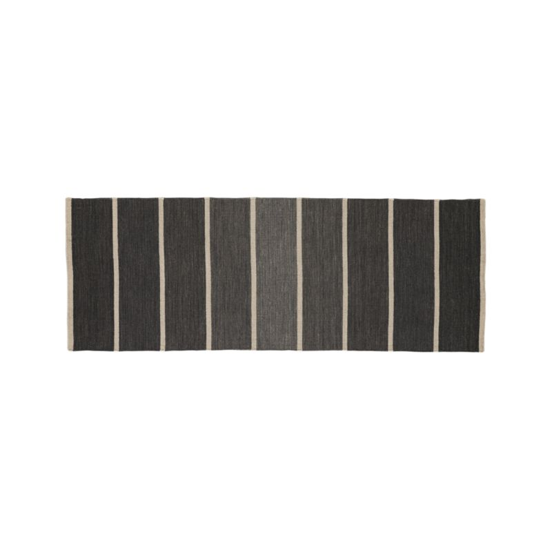 Bold Graphite Wool Blend Striped Dhurrie Runner Rug 2.5u0027x7u0027 | Crate And  Barrel