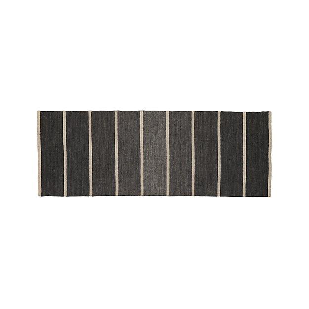 Bold Graphite Grey Striped Wool-Blend Dhurrie 2.5'x7' Rug Runner