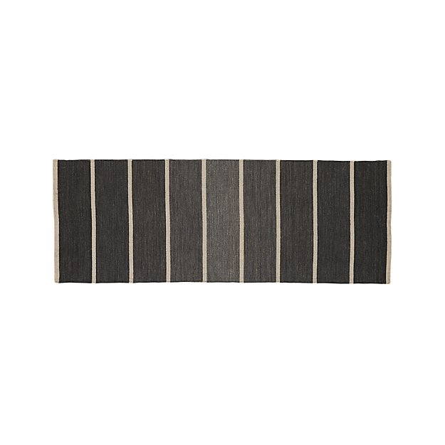 Bold Graphite Wool Blend Striped Dhurrie Runner Rug 2 5 X7 Reviews Crate And Barrel
