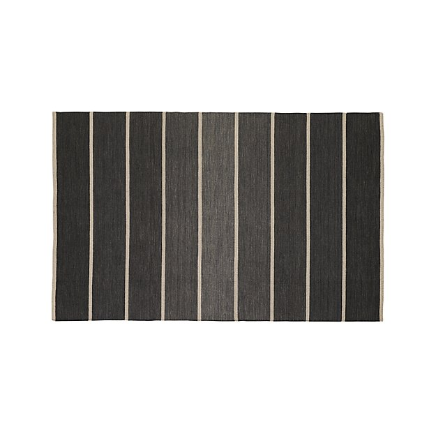 Bold Graphite Grey Striped Wool-Blend Dhurrie 5'x8' Rug