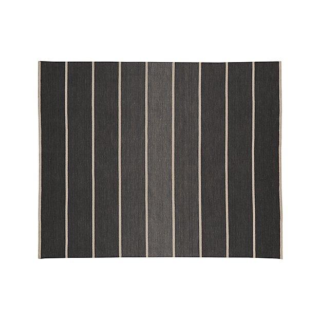 Bold Graphite Grey Striped Wool-Blend Dhurrie 8'x10' Rug