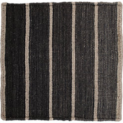 Bold Graphite Wool Blend Striped Dhurrie 12 Sq Rug Swatch