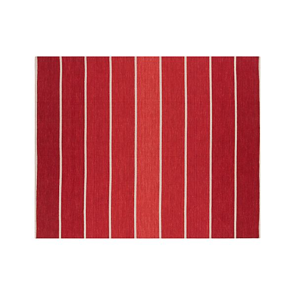 Bold Red Striped Wool-Blend Dhurrie 8'x10' Rug