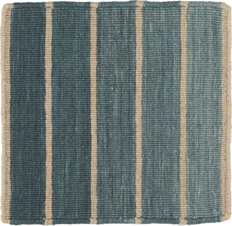 Bold Blue Wool Blend Striped Dhurrie 12 Sq Rug Swatch Reviews Crate And Barrel