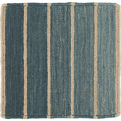bold blue wool blend striped dhurrie 12 sq rug swatch