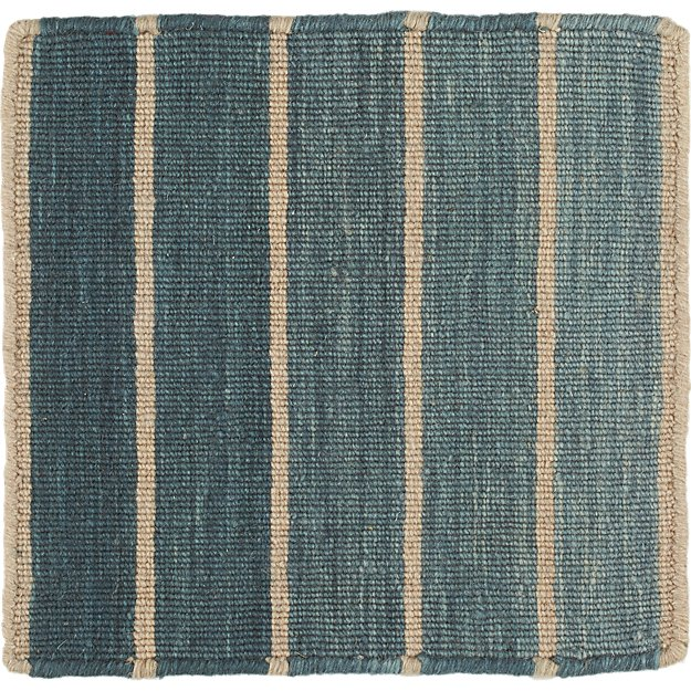"Bold Blue Striped Wool-Blend Dhurrie 12"" sq. Rug Swatch"