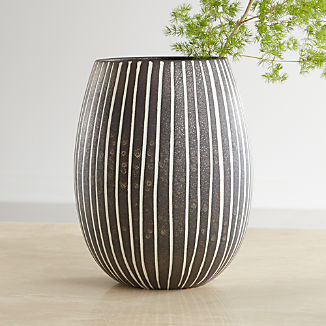 Bolton Black and White Striped Vase