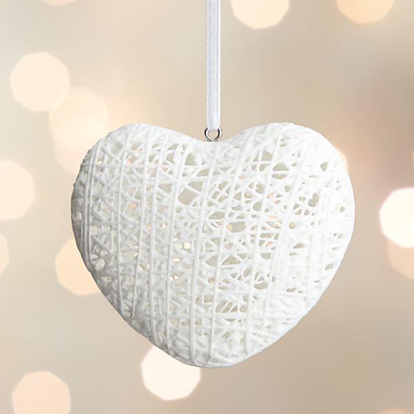 Bone China Fiber Heart Ornament