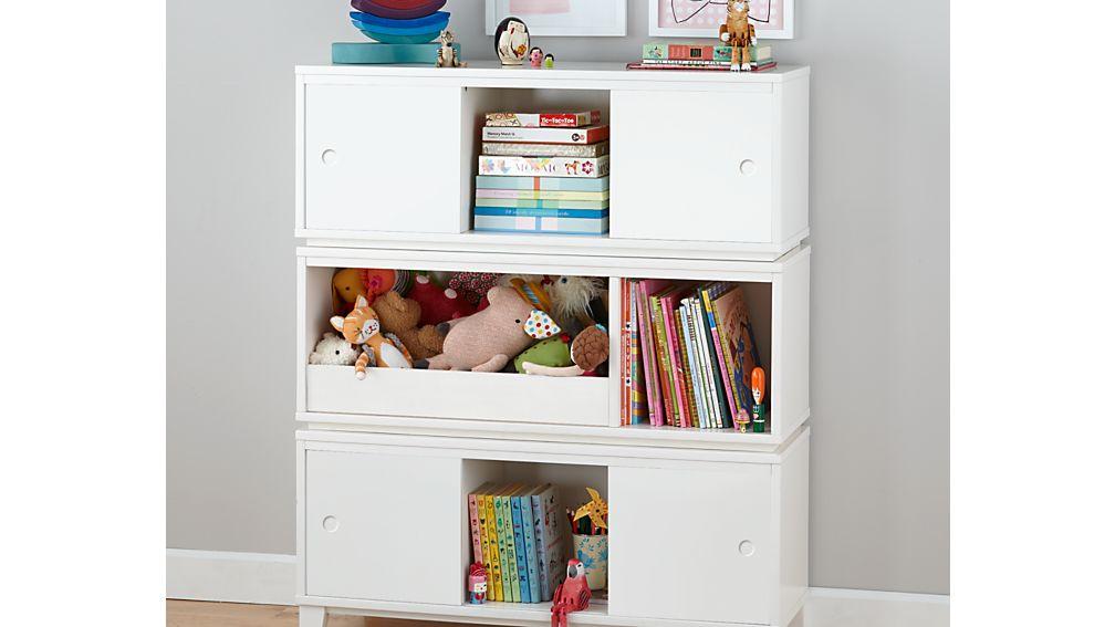 District Modern Storage Bench Bookcase With Bin White
