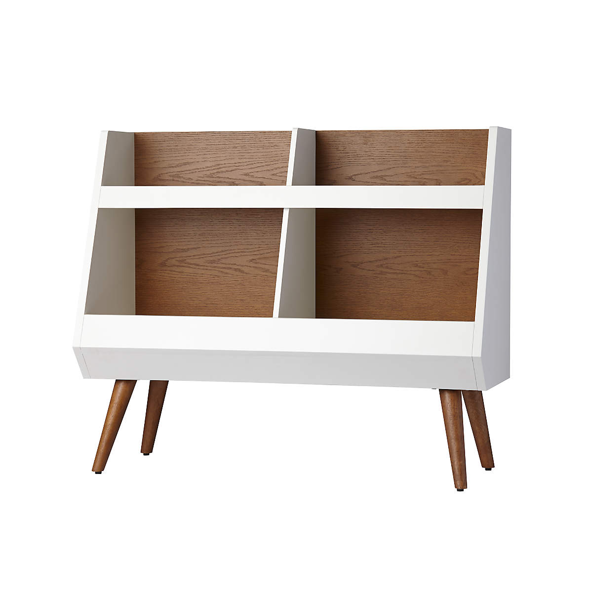 Walnut And White Mid Century Bookcase Reviews Crate And Barrel