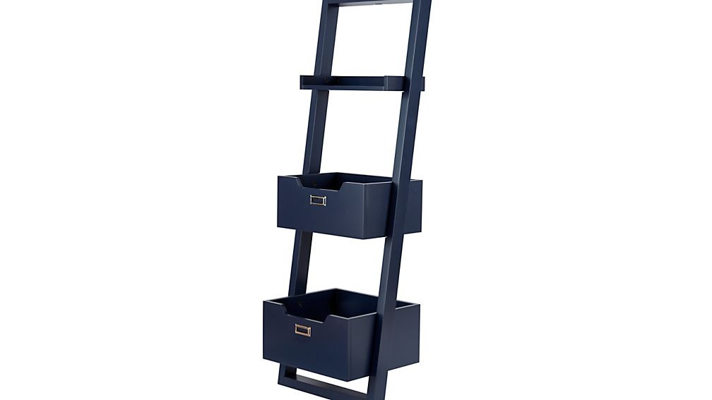 Midnight Blue Little Sloane Leaning Bookcase Bins Reviews Crate And Barrel