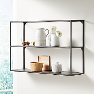 Booker Double Wide Rectangle Wall Display Shelf