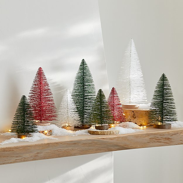 Green and Red Bottle Brush Christmas Trees, Set of 8 - Image 1 of 2
