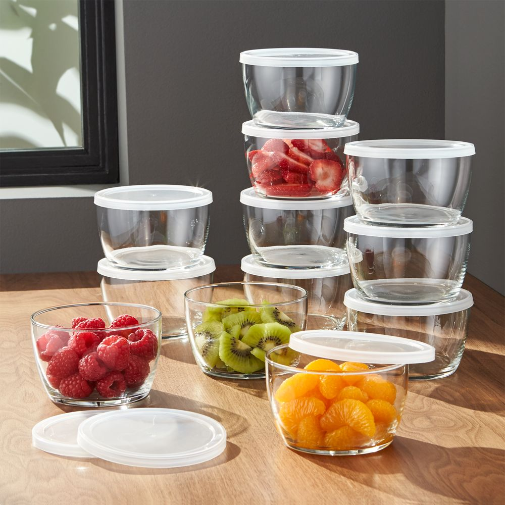 Lidded Bowl with Clear Lid Set of 12 - Crate and Barrel