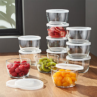 Clear Glass Bowl with Lid Set of 12